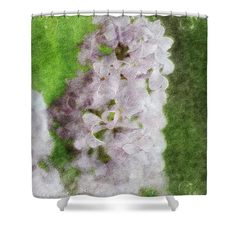 Nature Shower Curtain featuring the photograph Lilac Dreams - Digital Watercolor by Debbie Portwood