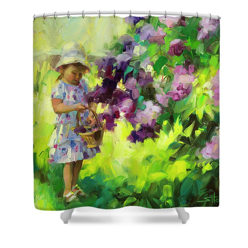 Spring Shower Curtain featuring the painting Lilac Festival by Steve Henderson