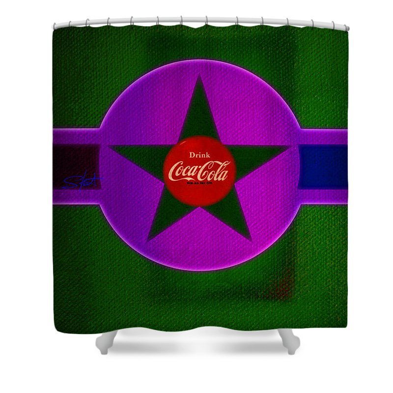 Label Shower Curtain featuring the painting Lilac Labelscape by Charles Stuart