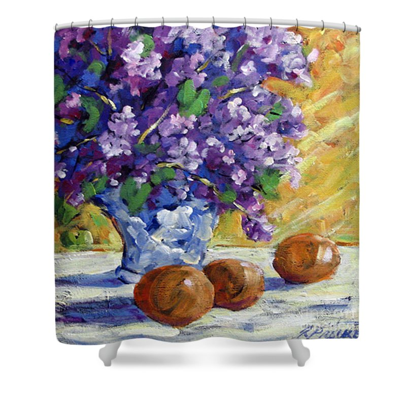 Art Shower Curtain featuring the painting Lilac by Richard T Pranke