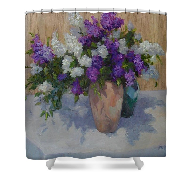 Lilacs Shower Curtain featuring the painting Lilacs by Patricia Kness