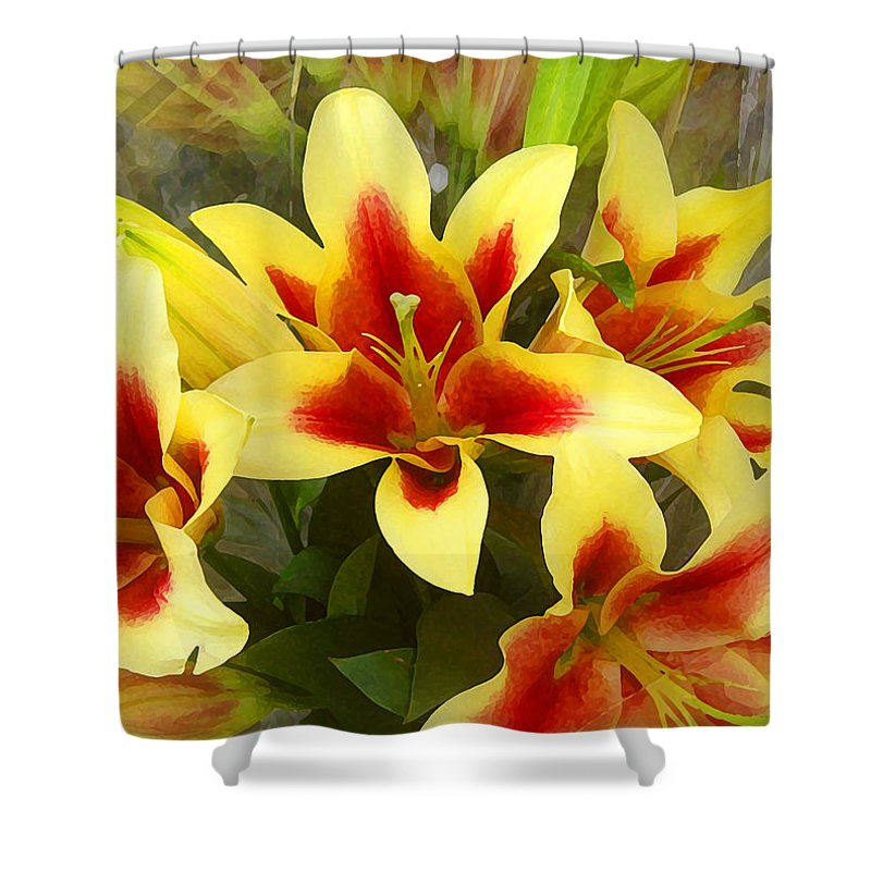 Spring Shower Curtain featuring the painting Lilies by Amy Vangsgard