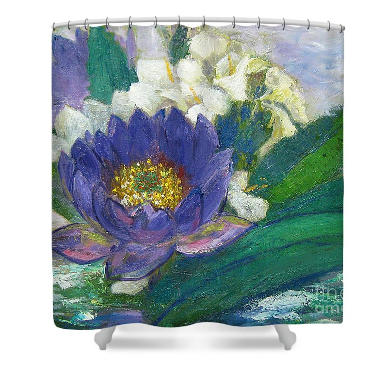 Lilies Shower Curtain featuring the painting Lilies by Meihua Lu