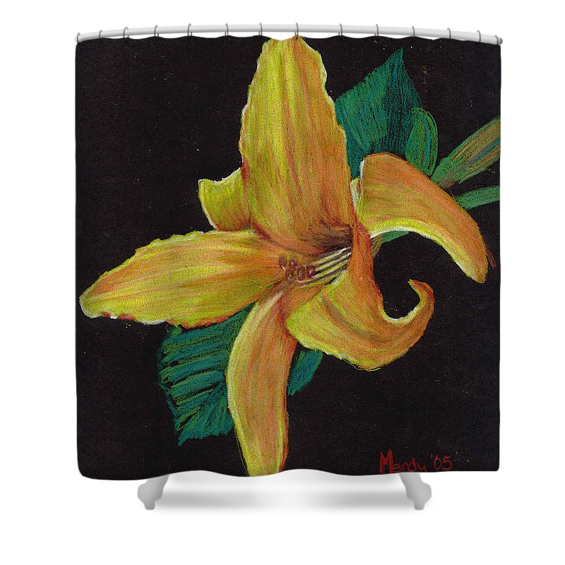 Flower Shower Curtain featuring the pastel Lily 1 by Mendy Pedersen