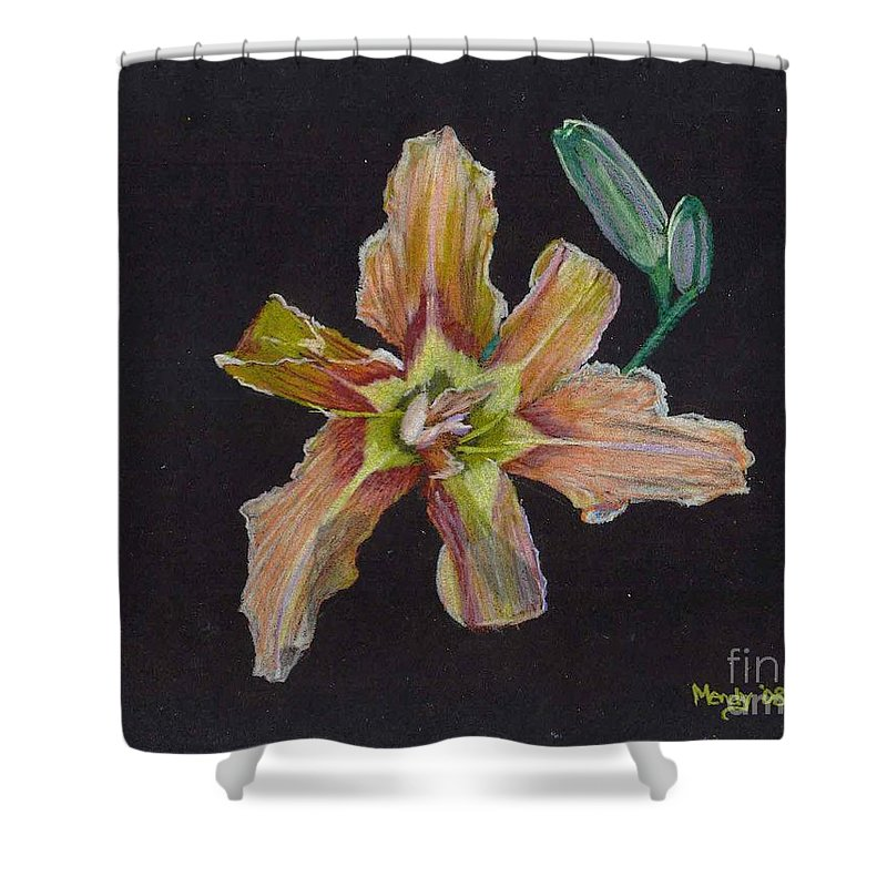 Lily Shower Curtain featuring the pastel Lily 2 by Mendy Pedersen