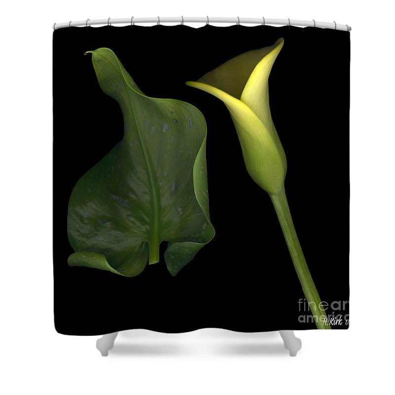 Yellow Shower Curtain featuring the photograph Lily And Leaf Number Two by Heather Kirk