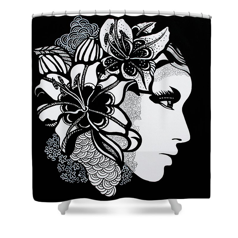 Woman Shower Curtain featuring the painting Lily Bella by Yelena Tylkina