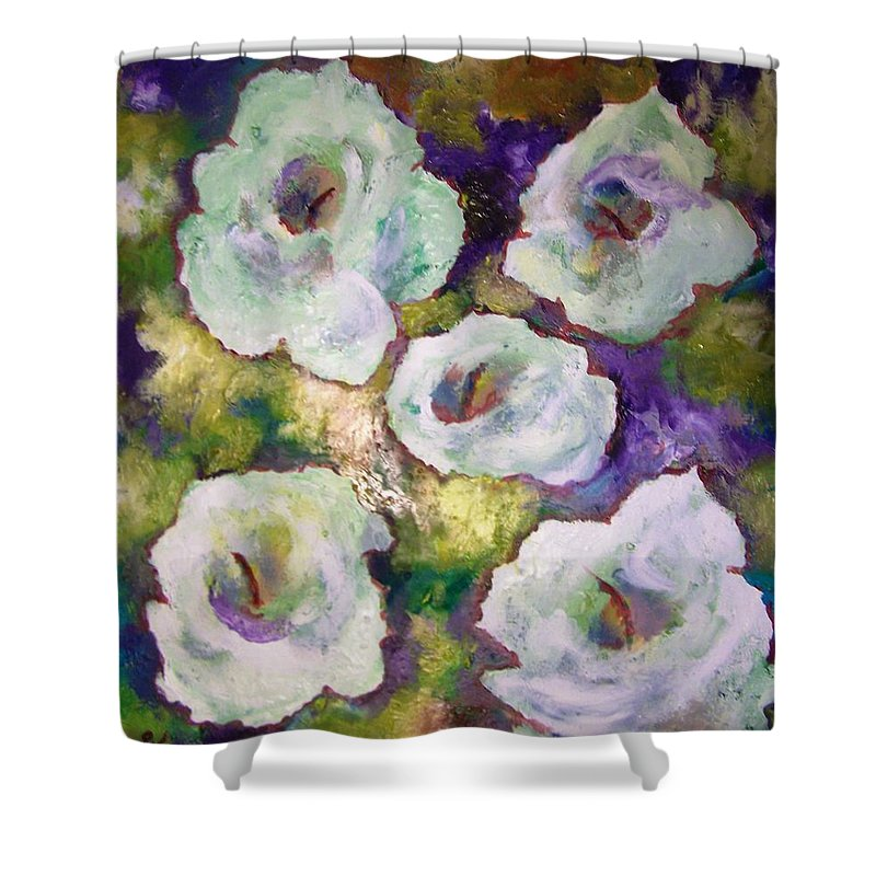Lily Shower Curtain featuring the painting Lily Garden With Shadows And Light by Patricia Taylor