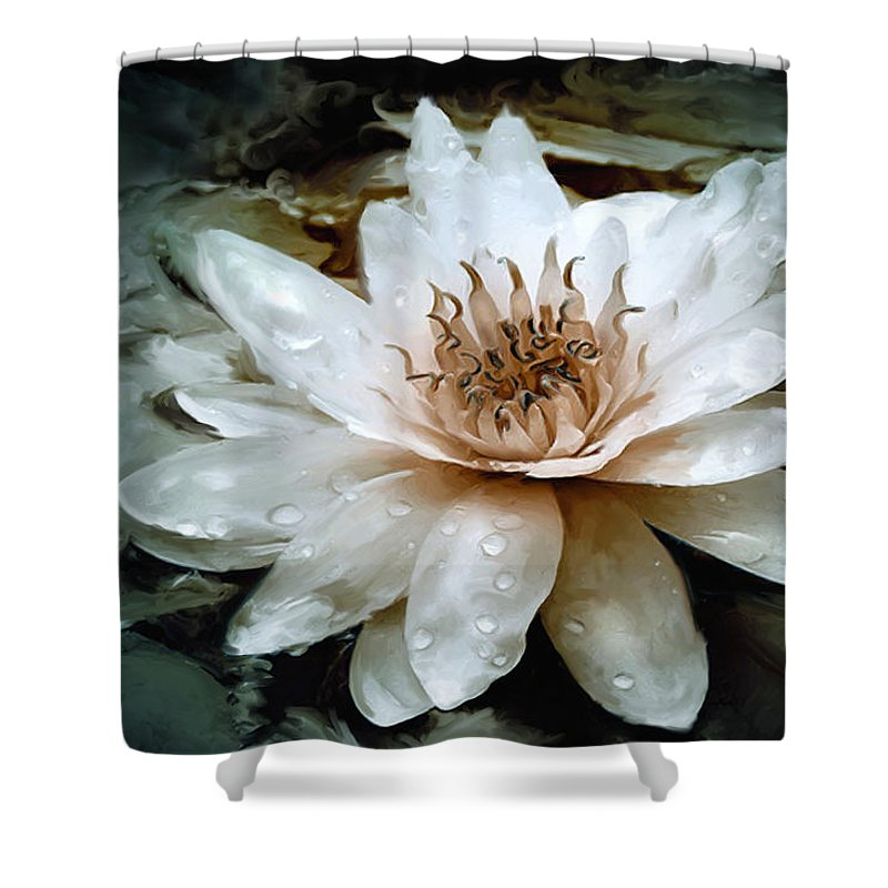 Water Lily Shower Curtain featuring the digital art Lily Light by Joel Payne