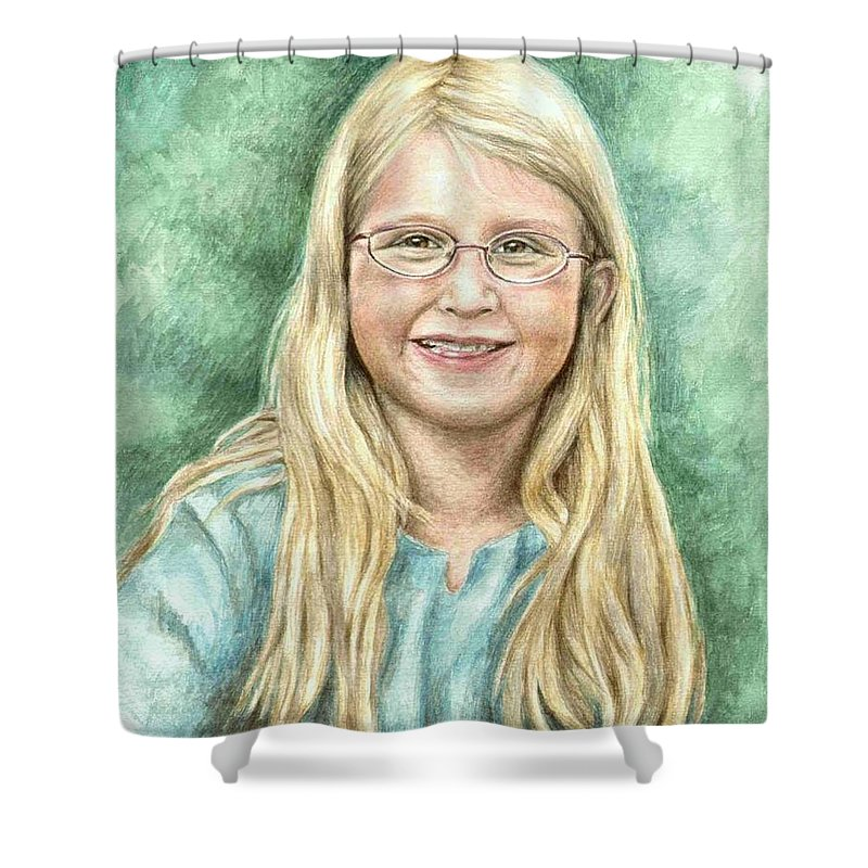 Girl Shower Curtain featuring the painting Lily by Nicole Zeug