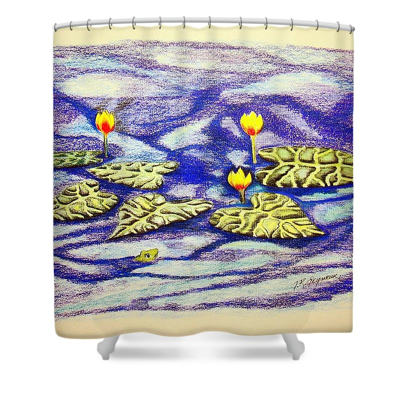 Stationery Card Shower Curtain featuring the drawing Lily Pad Pond by J R Seymour