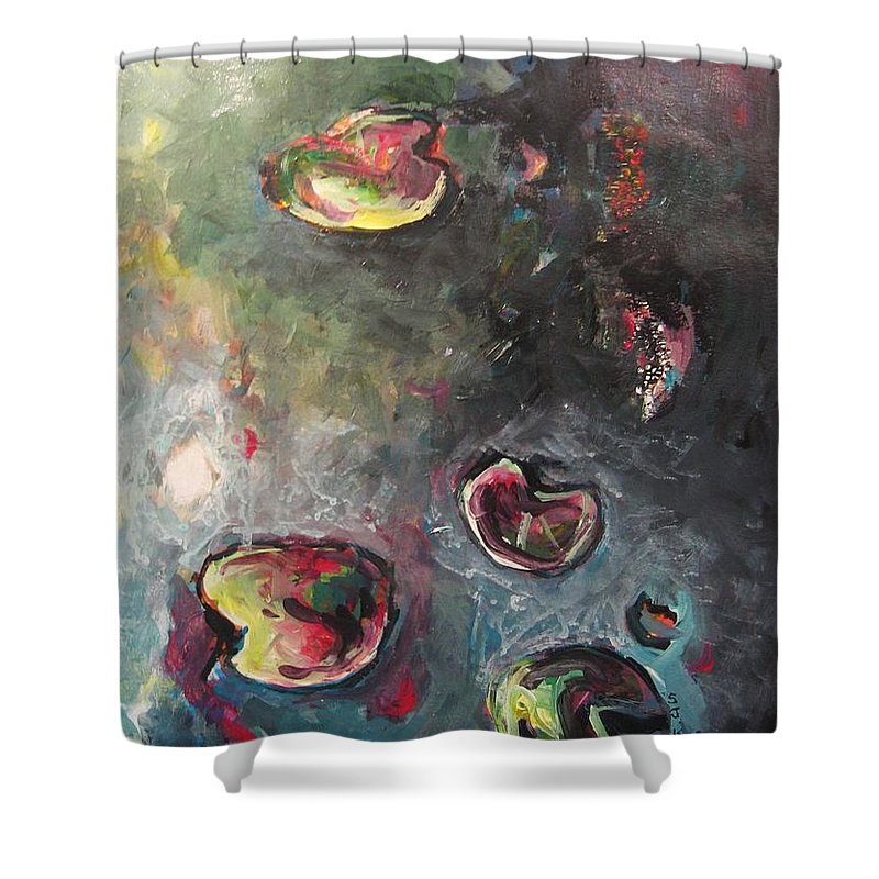 Abstract Painting Lily Pad Water Lake Blue Plant Paper Original Contemporary Canvas Shower Curtain featuring the painting Lily Pads5 by Seon-Jeong Kim