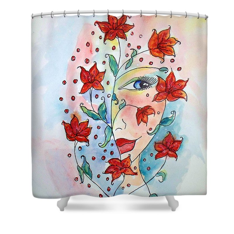 Lily Shower Curtain featuring the painting Lily by Robin Monroe