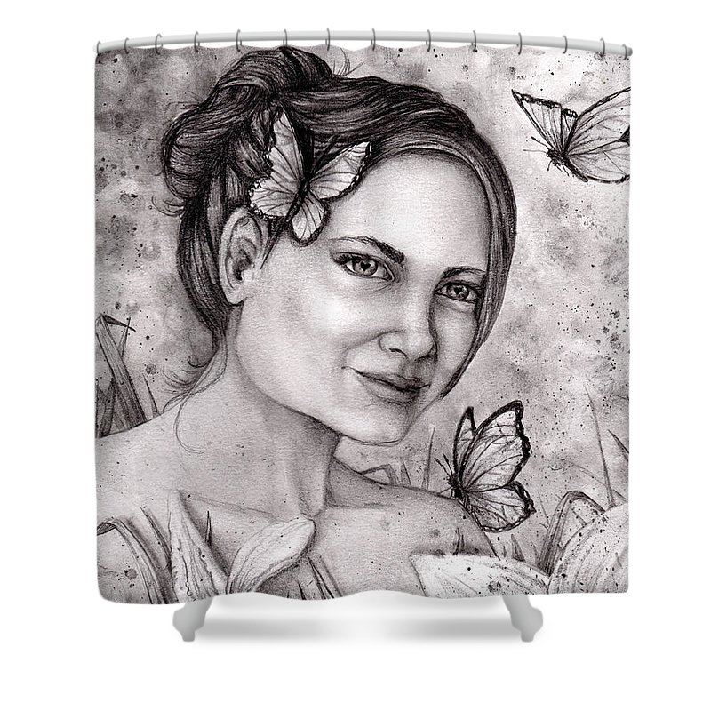 Lily Shower Curtain featuring the drawing Lily by Shana Rowe Jackson
