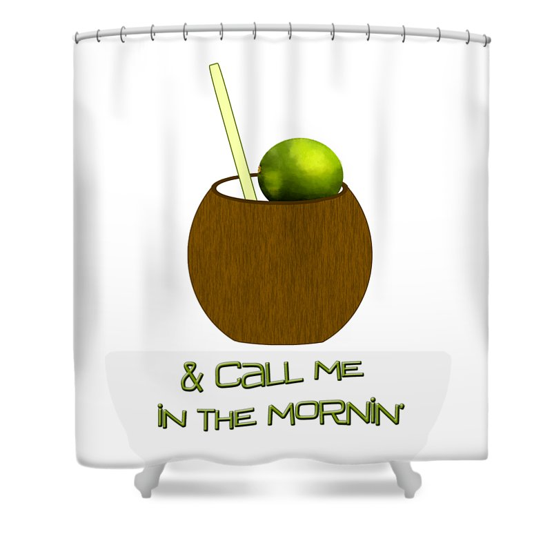 Lime In The Coconut Shower Curtain featuring the digital art Lime In The Coconut by Methune Hively