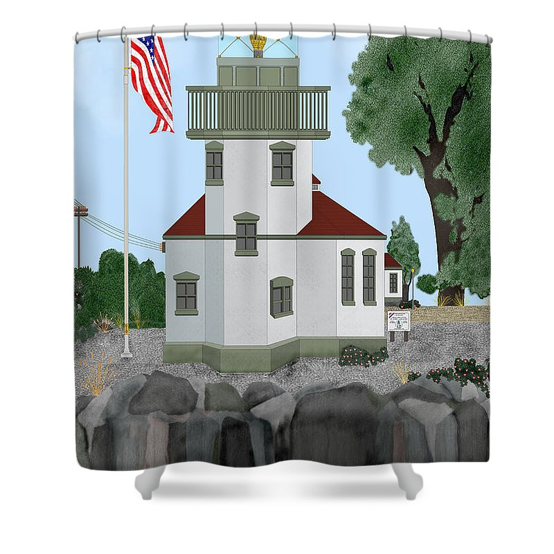 Lighthouses Shower Curtain featuring the painting Lime Kiln Light On San Juan Island by Anne Norskog