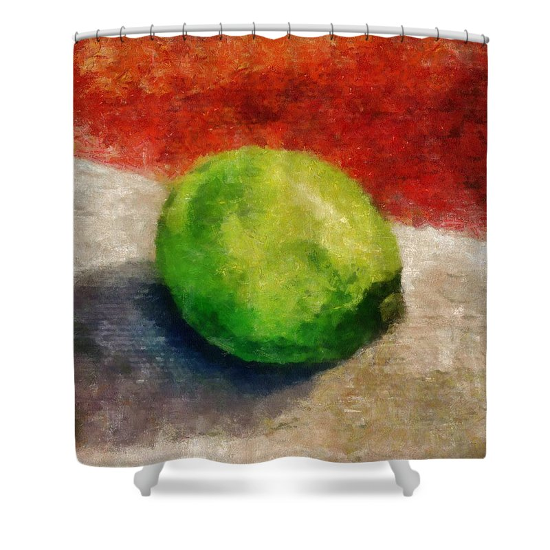 Lime Shower Curtain featuring the painting Lime Still Life by Michelle Calkins