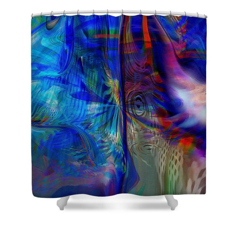 Abstract Shower Curtain featuring the digital art Limelight by Linda Sannuti