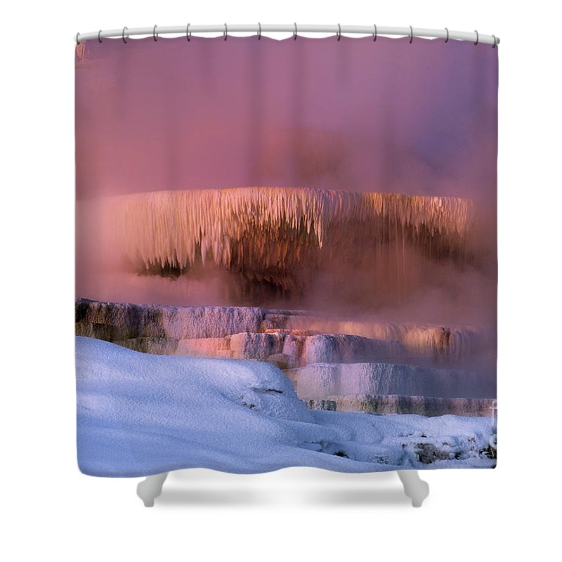 North America Shower Curtain featuring the photograph Limestone Artwork Minerva Springs Yellowstone National Park by Dave Welling