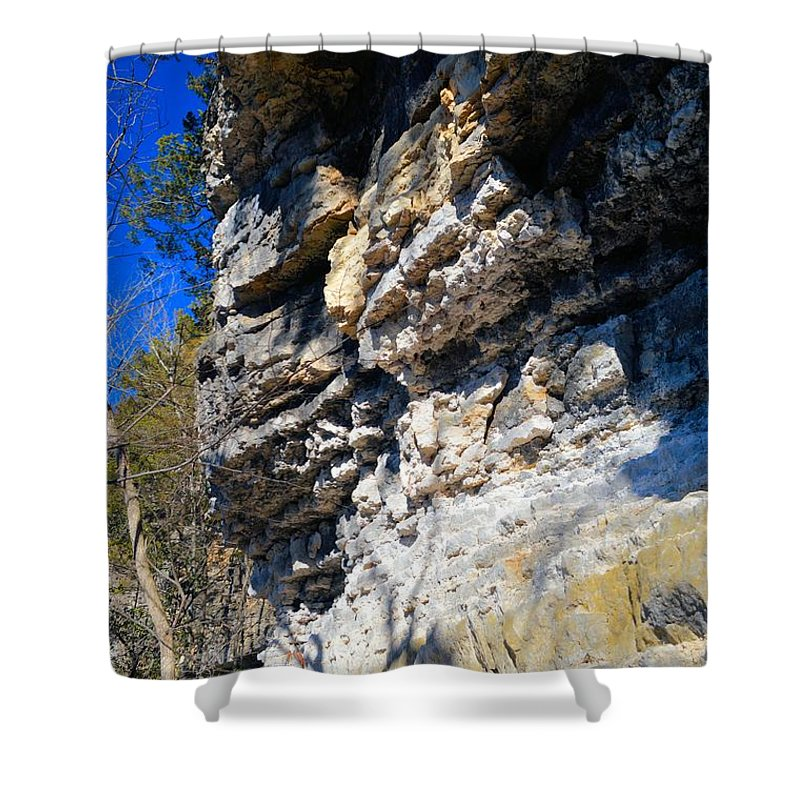 Limestone Shower Curtain featuring the photograph Limestone Cliff by Bonfire Photography