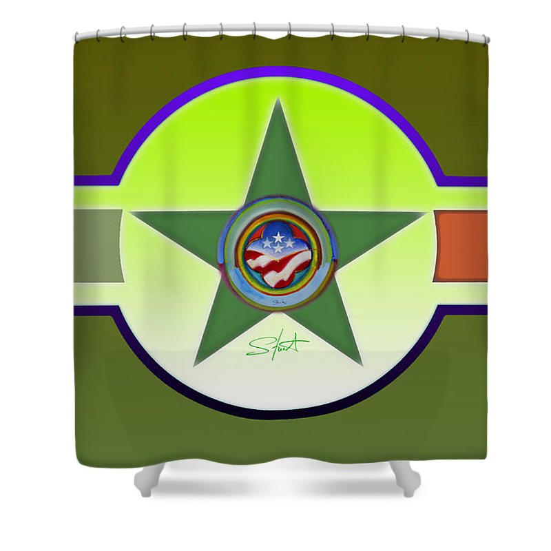 Insignia Shower Curtain featuring the painting Limey Landscape by Charles Stuart