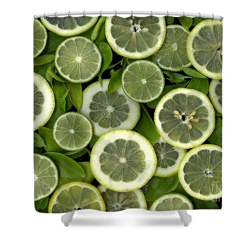 Scanography. Slanec Shower Curtain featuring the photograph Limons by Christian Slanec