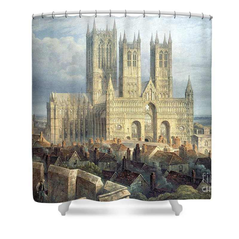 Lincoln Shower Curtain featuring the painting Lincoln Cathedral From The North West by Frederick Mackenzie