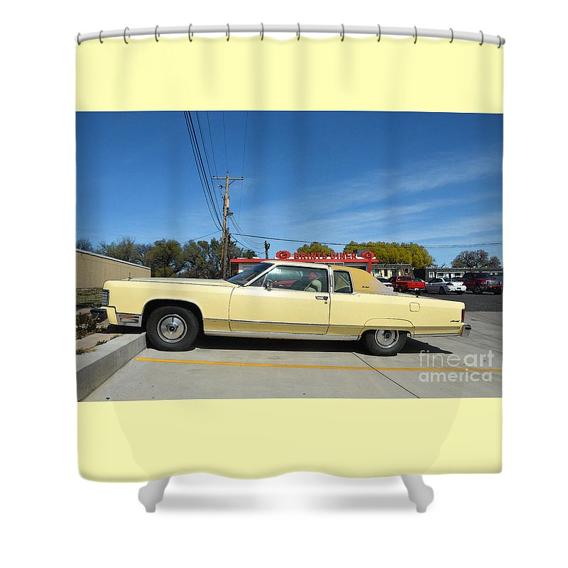 Lincoln Continental Shower Curtain featuring the photograph Lincoln Continental At Brint's Diner by Catherine Sherman