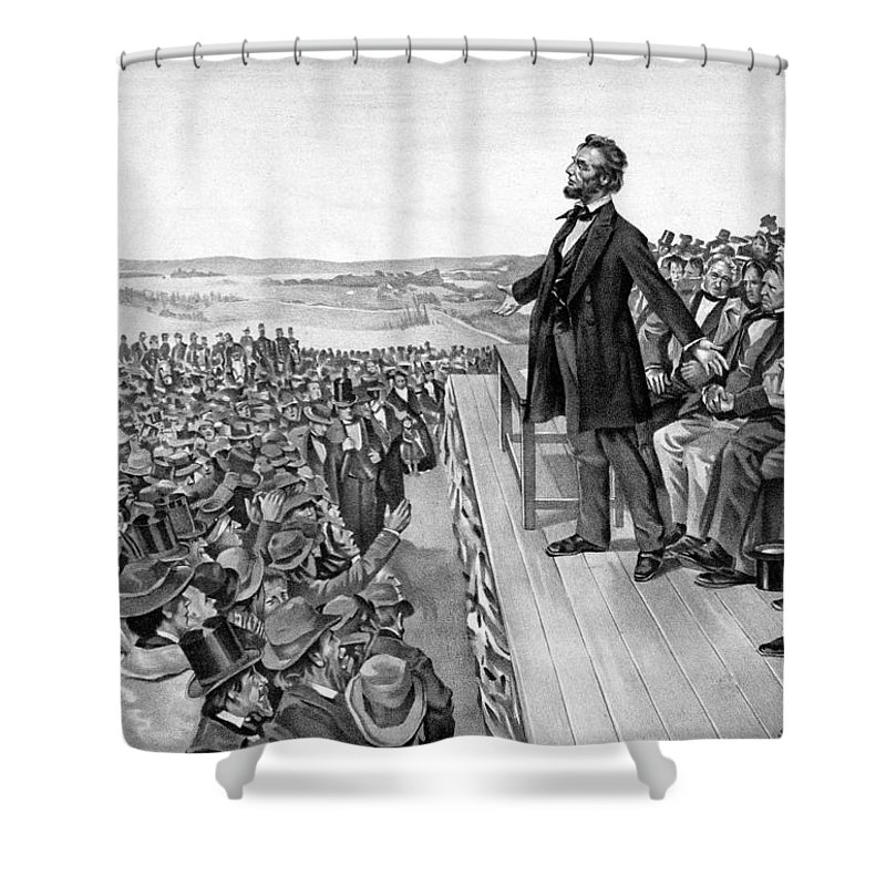 Gettysburg Address Shower Curtain featuring the drawing Lincoln Delivering The Gettysburg Address by War Is Hell Store