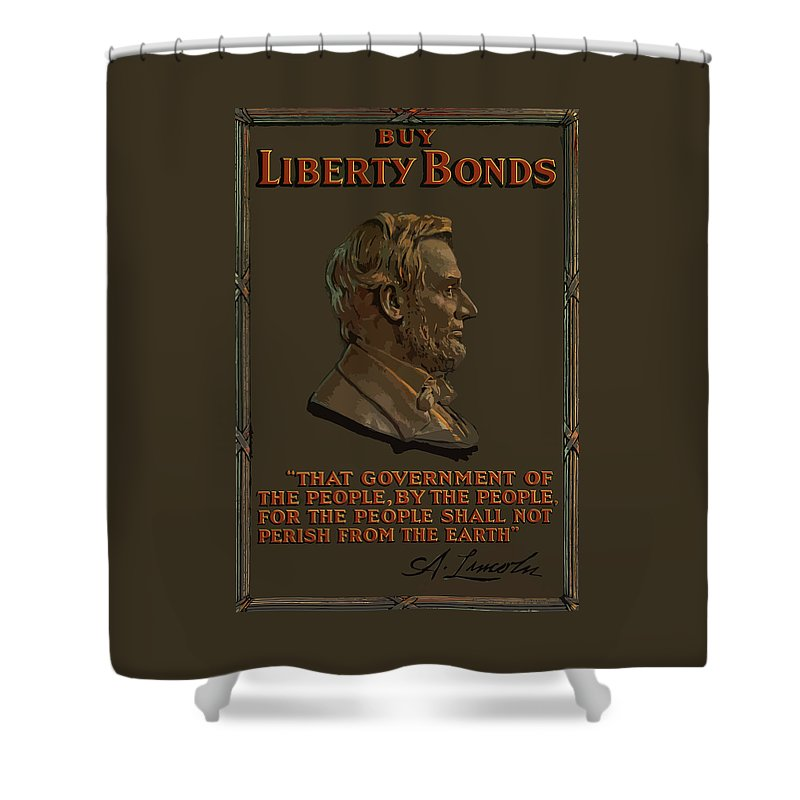 Abe Lincoln Shower Curtain featuring the painting Lincoln Gettysburg Address Quote by War Is Hell Store