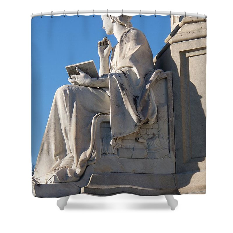 Lincoln Shower Curtain featuring the painting lincoln statue Gettysburg PA by Eric Schiabor