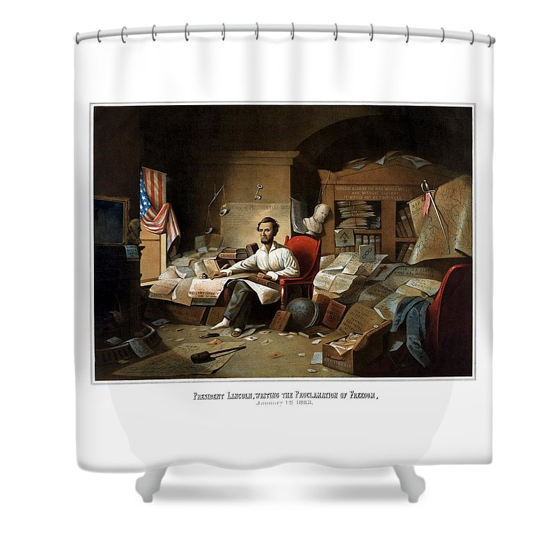 Abraham Lincoln Shower Curtain featuring the painting Lincoln Writing The Emancipation Proclamation by War Is Hell Store