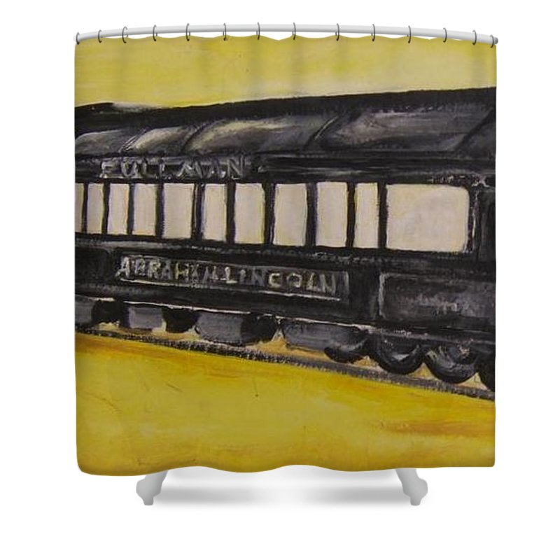 Lincon Shower Curtain featuring the painting Lincons Funeral Car by Todd Artist