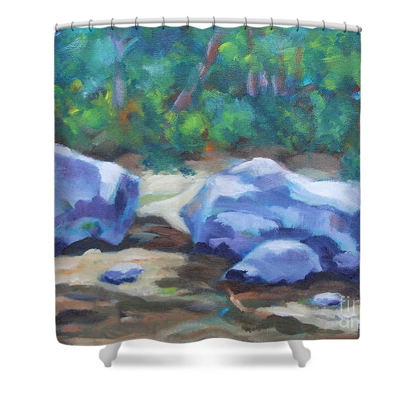 Expressionist Landscape Shower Curtain featuring the painting Lindenlure by Jan Bennicoff