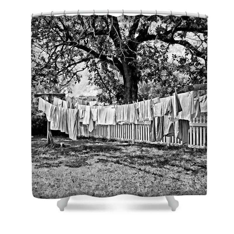 Laundry Shower Curtain featuring the photograph Line Drying - Laundry by Nikolyn McDonald