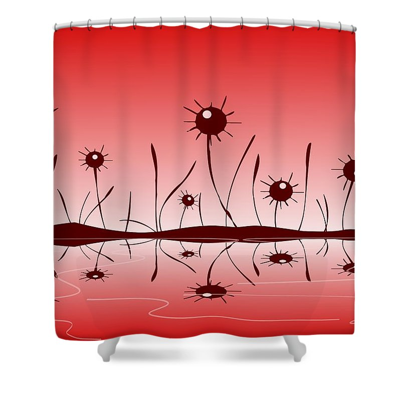 Reflection Shower Curtain featuring the digital art Line Of Defense by Anastasiya Malakhova