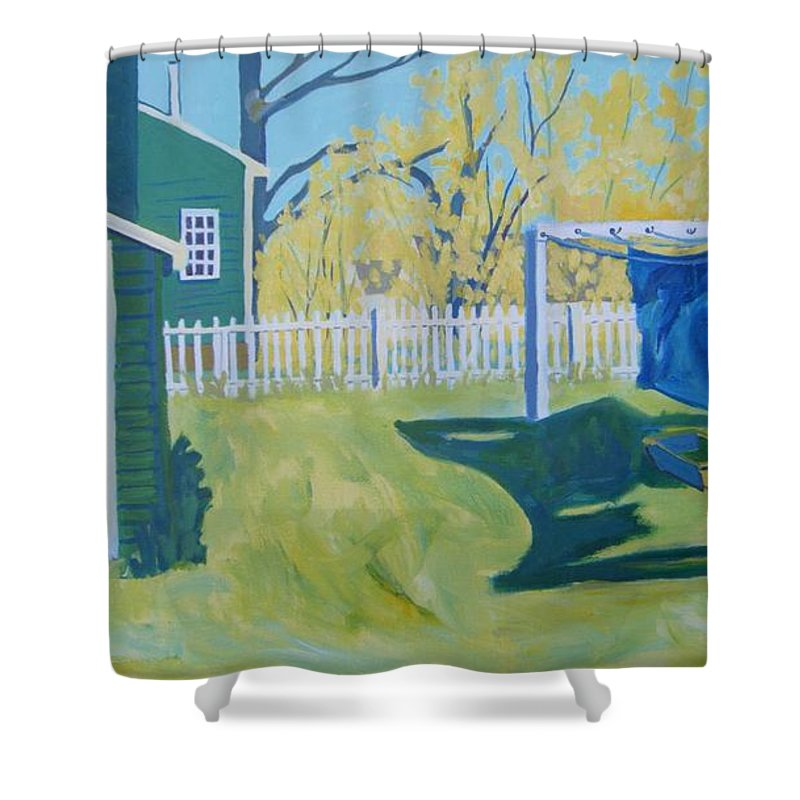Backyard Shower Curtain featuring the painting Line Of Wash by Debra Bretton Robinson
