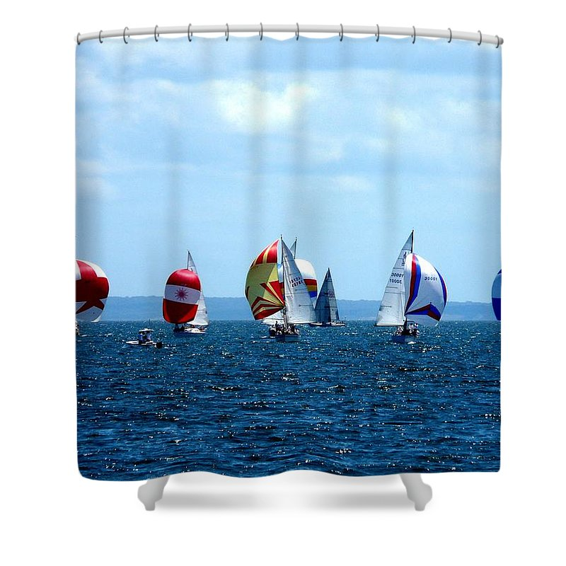 Landscape Shower Curtain featuring the photograph Line Up by Kendall Eutemey
