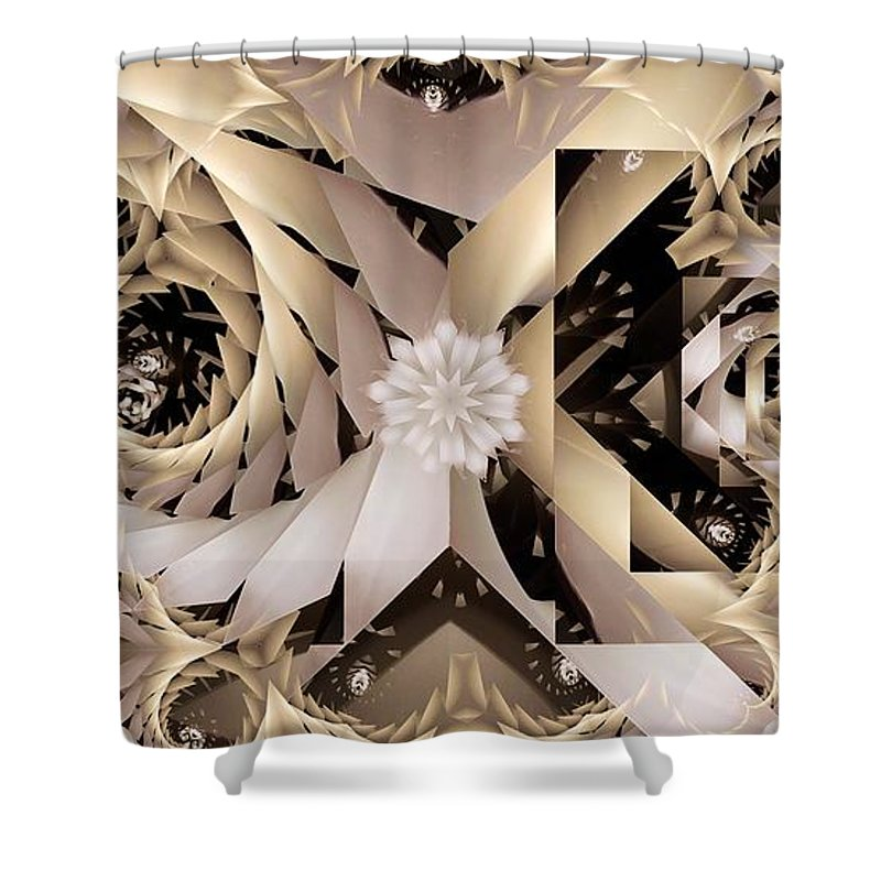 Abstract Shower Curtain featuring the digital art Linen and Silk by Ron Bissett