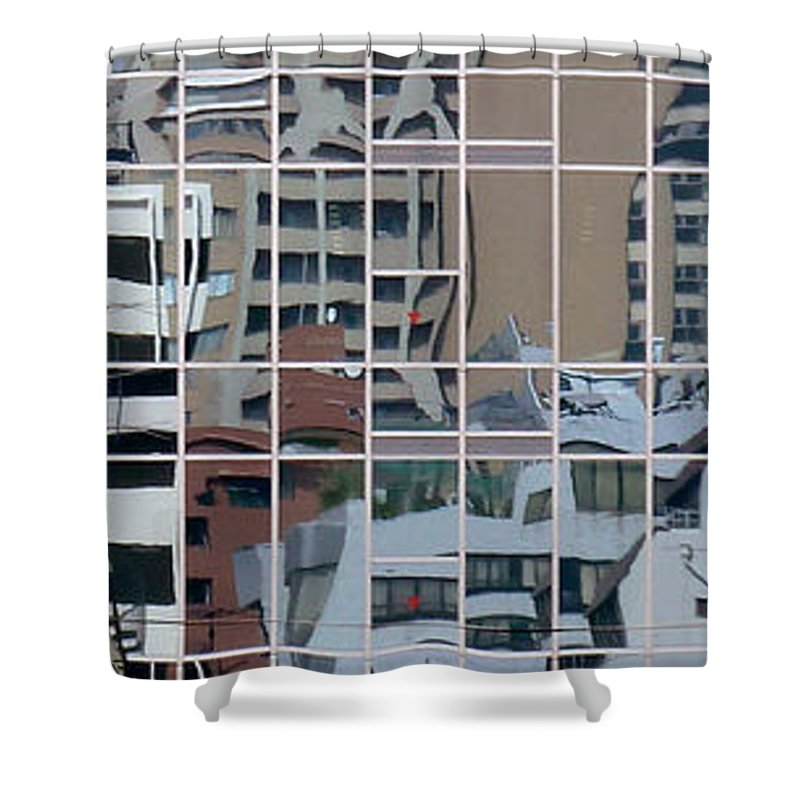 Reflections Shower Curtain featuring the photograph Lines And Bendy Windows by Baato