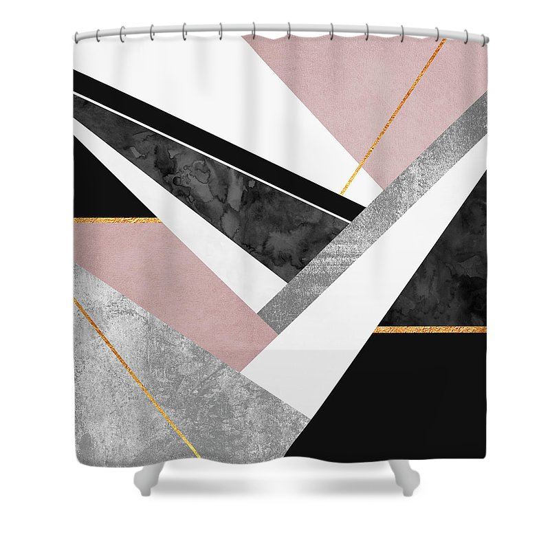 Digital Shower Curtain featuring the digital art Lines and Layers by Elisabeth Fredriksson