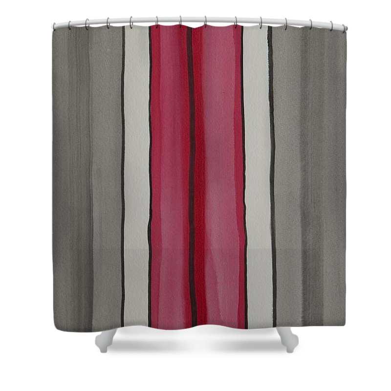 Red Shower Curtain featuring the painting Lines by Jacqueline Athmann