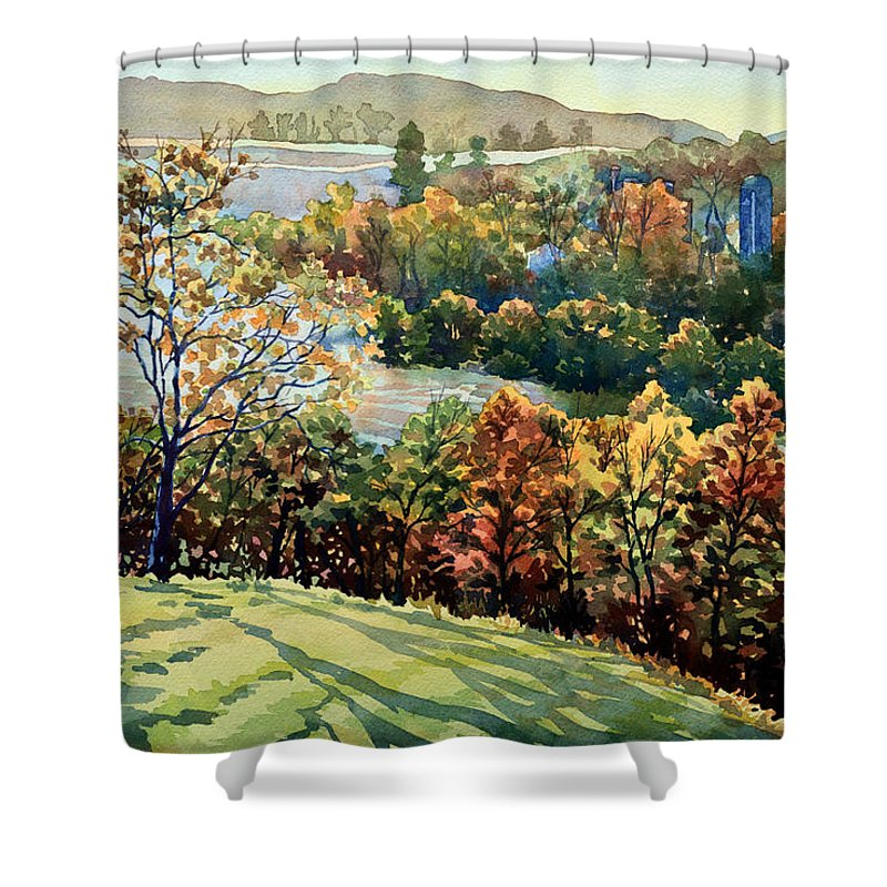 Nature Shower Curtain featuring the painting Linganore Dew by Mick Williams