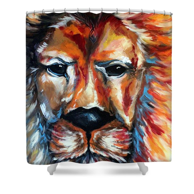 Lion Abstract Wild Animal Art Colorful Art Shower Curtain
