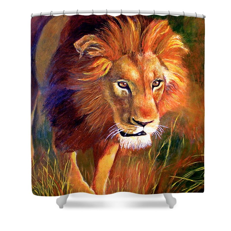 Lion Shower Curtain featuring the painting Lion At Sunset by Michael Durst