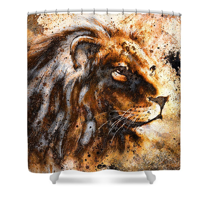 Africa Shower Curtain Featuring The Painting Lion Collage On Color Abstract Background Rust Structure