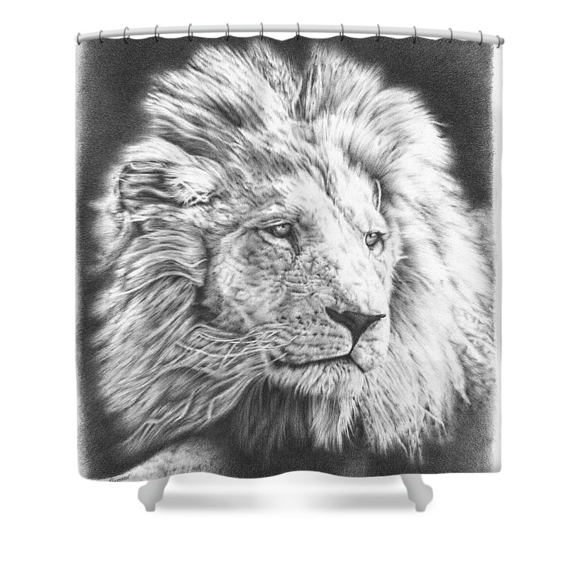 Lion Shower Curtain Featuring The Drawing Fluffy By Remrov