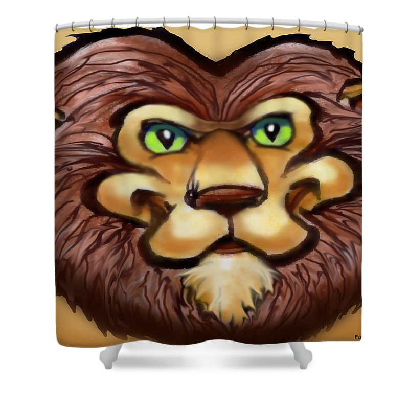 Lion Shower Curtain featuring the painting Lion by Kevin Middleton