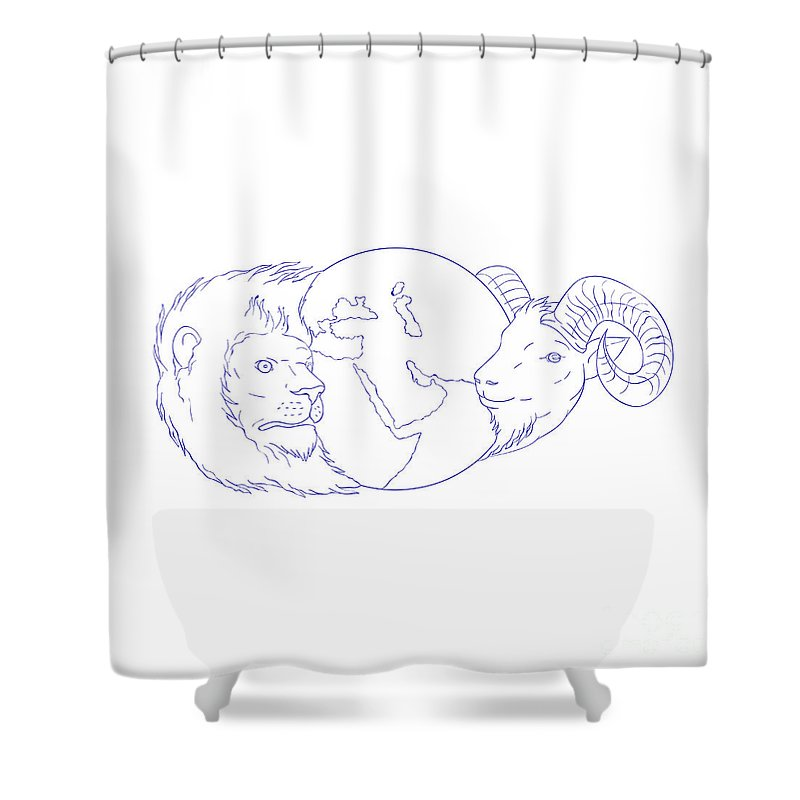 Lion Ram Globe Middle East Drawing Shower Curtain for Sale by ...