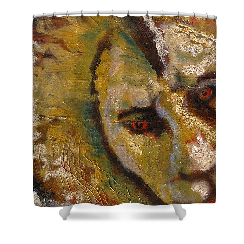 Lion Shower Curtain featuring the painting Lion three by J Bauer